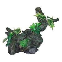 Декорации для аквариума: коряга с растениями