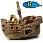 Затонувший корабль-каравелла, длина 17-20 см