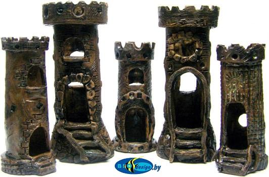 Башни сторожевые, высота 12-18 см декорации в аквариум глина