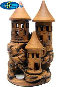 Замок на скале, высота 15-20 см декорация в аквариум из глины
