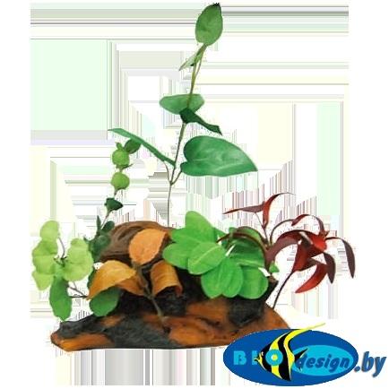 аквариумные декорации в Минске: Коряга с растениями (KW)