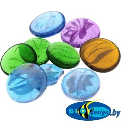 Марблс Barbus Glass 018 прозрачные, разноцветные, диаметр 35 мм, 200 г