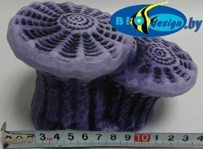 Камень для террариума, подставка для черепах Актиния малая К-23 фиолетовая