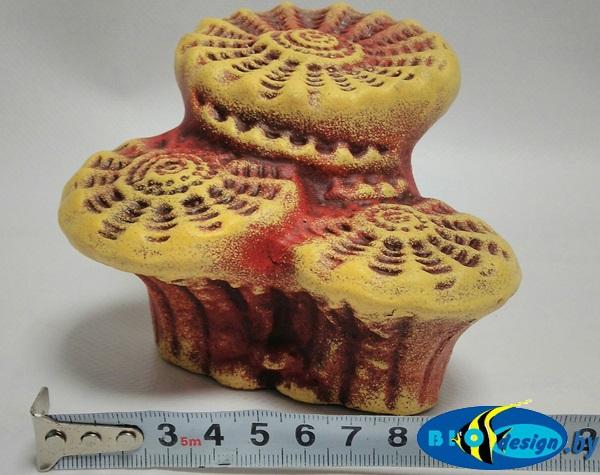 Камень для террариума, подставка для черепах Актиния малая К-23 красная