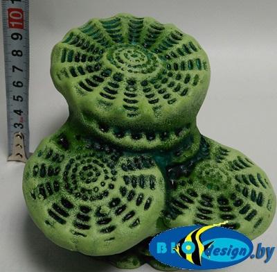 Камень для террариума, подставка для черепах Актиния малая К-23 зеленая
