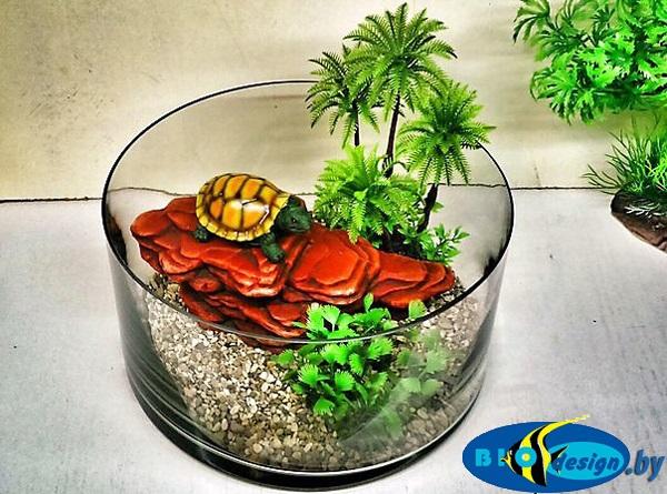 Камень для террариума: Подставка для черепах суша К-25 красная