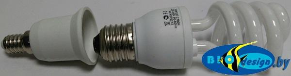 Переходник Е14-Е27, белый