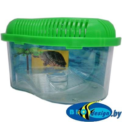 Пластиковый аквариум для черепахи с фоном и пальмой в комплекте