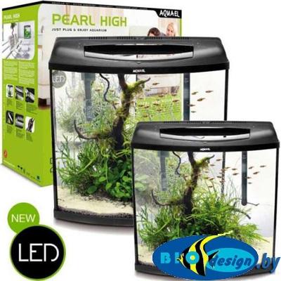Аквариум Pearl High 40 фигурный, 32л, 40х25х40 см, свет LED 1x6W, PATmini, GOLD 50W