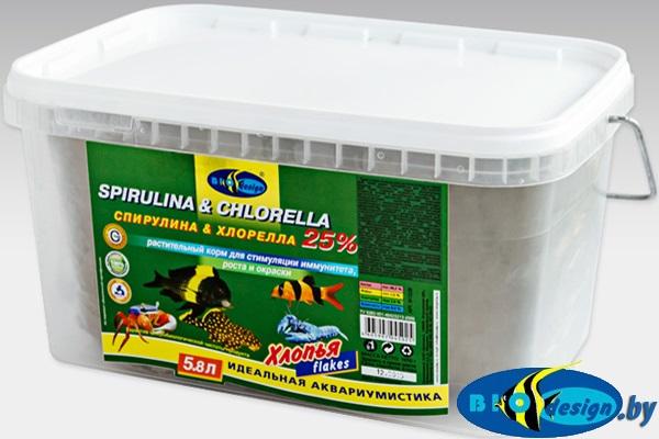 Корм Биодизайн СПИРУЛИНА и ХЛОРЕЛЛА 25% (расфасовка) 1 литр