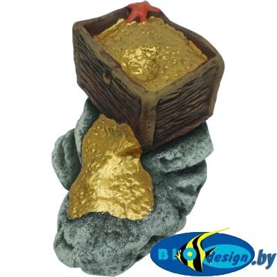 аквариумные декорации в Минске купить Сундук с золотом К-16