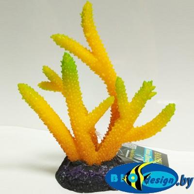 Аква декор BARBUS Пластиковый коралл желто-зеленый 14.5*4.7*15 см, Decor 267