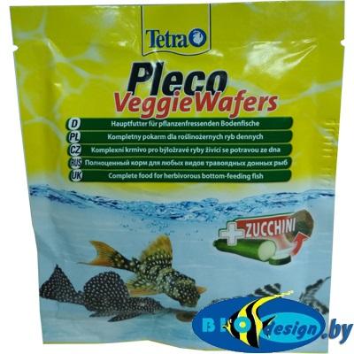 TetraPleco Veggie Wafers (пластинки) 15г - корм для растительноядных донных рыб