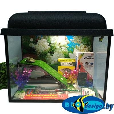 Аквариум для красноухих черепах 15 литров GREEN (комплект)