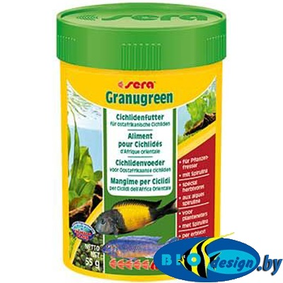 Sera Granugreen 100 мл - корм для травоядных цихлид (гранулы) 55 г