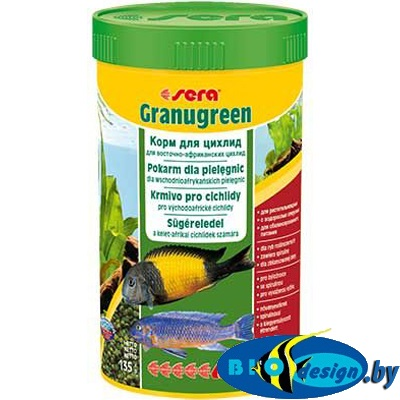 Sera Granugreen (гранулы), 250ml/135g - корм для травоядных цихлид (гранулы)