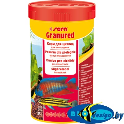 Sera Granured 100 мл - корм для плотоядных цихлид (гранулы) 55 г