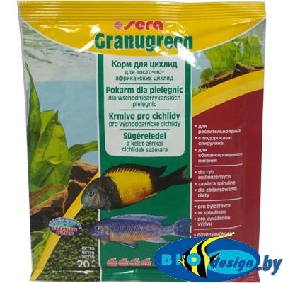 SERA granugreen гранулы 20гр - корм для травоядных цихлид (гранулы)
