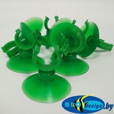 D30 Присоска силиконовая крепления (зеленое) D=30 мм, пластиковое полукольцо (зеленое) D=8 мм
