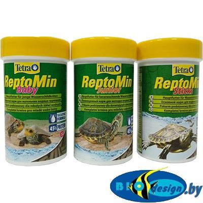 Корм для водных черепах (3 в 1) TETRA ReptoMin Baby 100 мл + ReptoMin Junior 100 мл + ReptoMin 100 мл