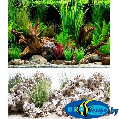 Фон аквариумный Barbus 030: Облачный камень. Чудесный пейзаж, двухсторонний, 60 х 124 см