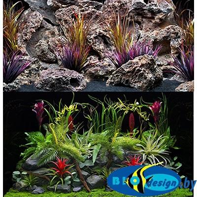 Фон аквариумный Barbus 033: Цветы джунглей. Старый вулкан, двухсторонний, 60 х 124 см