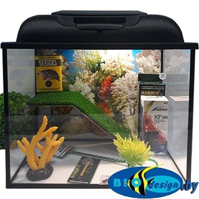 Аквариум для красноухих черепах GREEN 35 литров (комплект)