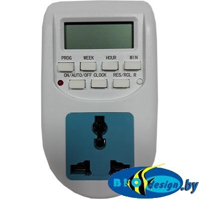 Таймер электронный программируемый с розеткой и LCD дисплеем AL-06