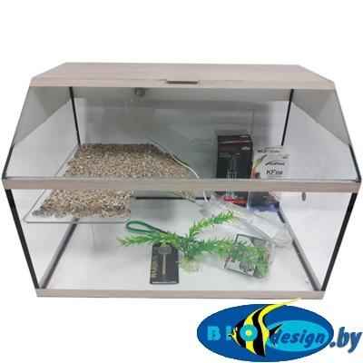 Аква-террариум 50 л для красноухих черепах цвет Беленый дуб